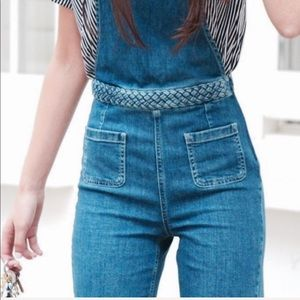 Zara Braided Denim Overall Dungarees